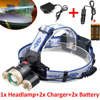 900000Lumen 3X T6 LED Headlamp Headlight Zoom Head Lamp Rechargeable 18650 Light