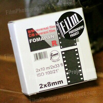 Regular 8mm / Double 8 Movie Film - Foma BW Reversal r100 - 33 ft (10m) roll