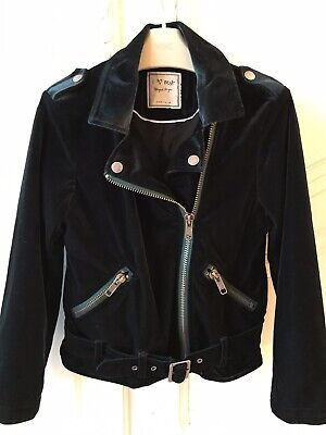 Next Girls Bottle Green Velvet Biker Jacket Age 9 Brand New Without Tags