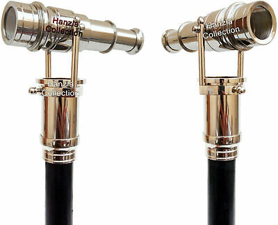 Walking Stick With Brass Telescope Foldable Hidden Spy Wooden Cane Nautical Gift