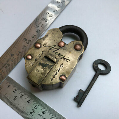 Old Solid Brass miniature PadLock Lock Collectible trick or puzzle with key