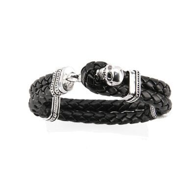 Leather Bracelet 925 Sterling Silver Skull Charm Mens Fashion Bangle Jewelry Set