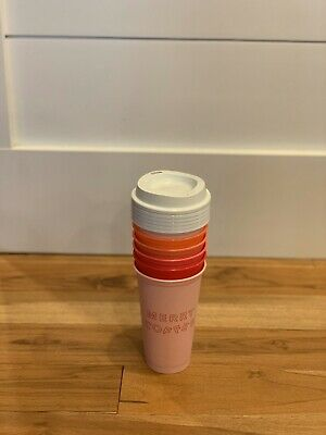 Starbucks 2019 Winter Holiday Christmas Reusable Grande Hot Cups 6 PK Lids Reds