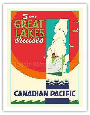 TX324 Vintage 1930/'s Cruise The Great Lakes Canadian Travel Poster A1//A2//A3//A4