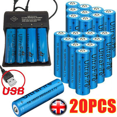 9900mAh 18650 Rechargeable Battery Li-ion Lithium 3.7V With Charger Cell UK*