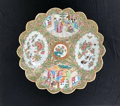 LARGE ANTIQUE CHINESE CANTON FAMILLE ROSE PORCELAIN BASIN BOWL QING 19TH c 1840