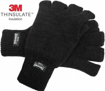 Mens Ladies FINGERLESS GLOVES THERMAL 3M THINSULATE  Knitted Wooly Black