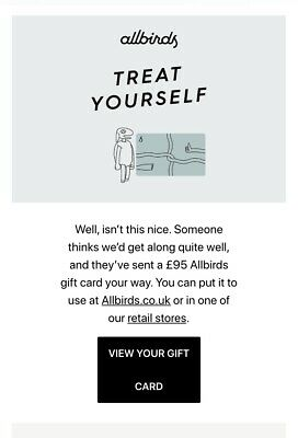 AllBirds Shoes Gift Voucher Value £95 Electronic Gift Card Use Online / In Store