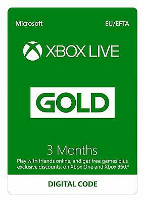 Xbox Live 3 Month Gold Membership for Xbox One/360 Download Code + FREE DELIVERY