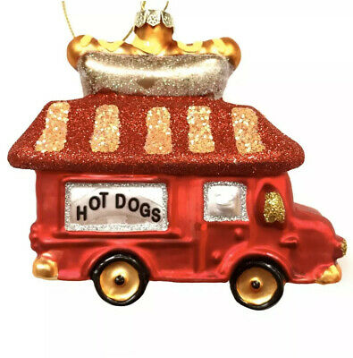 EX15731 HOT DOG Glass Christmas Ornament by Ganz