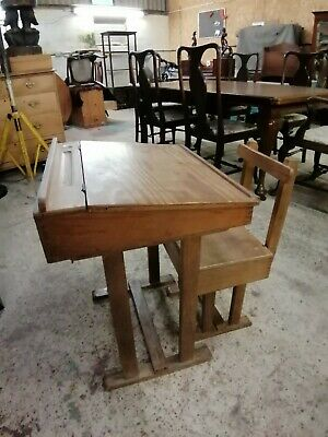 Childs antique school desk and seat