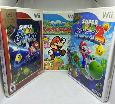 Super Mario Galaxy 1 & 2 and Super Paper Mario (Wii) FAST FREE SHIPPING DAY OF!