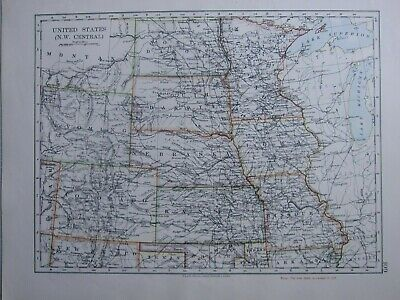 1916 Map ~ United States North West Central Nebraska South Dakota Kansas