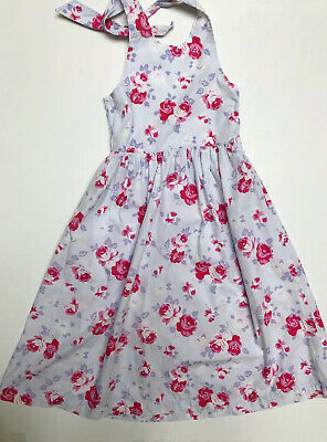 MINI BODEN Dress Floral Print Halter Sun Girl's Size 11-12 Years Blue Pink