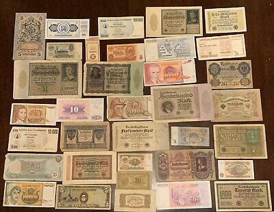 Lot Of 35 Different World Foreign Banknotes Currency All Different Most Old Note