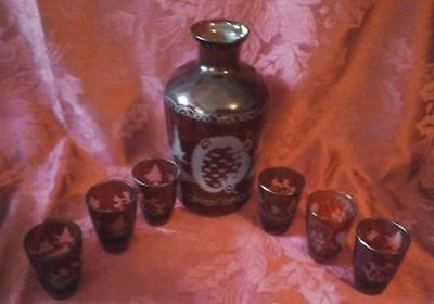 Ruby Red Bohemian Glass Decanter with 6 Shots