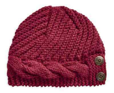 NEW Harley Davidson Womens Chunky Knit Beanie Hat Scarf and Mitten Set Red