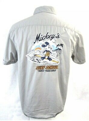 DISNEY Parks Men shirt Mickey's Surf School Instructor  L embroidered Button Up