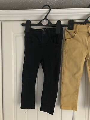 Two Pair Of Baby Boys Jeans Yellow & Black Skinny Next 12-18 Months