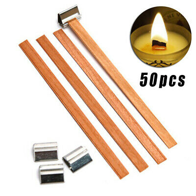 50pcs Wood Wooden Candle Core Wicks Candle Making Supplies W/ 50x Alloy Stands