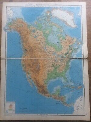 "1942 Vintage John Bartholomew Atlas Map 20"" North America Physical Features"