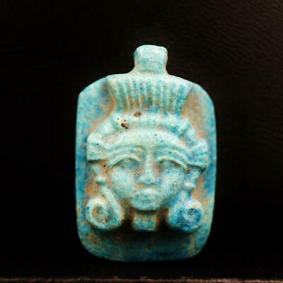 Rare Ancient Egyptian Large Faience Amulet Queen Tiye Figurine Pendant
