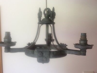 c19th Antique Pewter Arts & Crafts Gothic Chandelier Light Fitting Fleurs De Lys