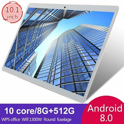 "10.1"" inch WIFI/4G-LTE HD Tablet Android 8.0 Pad 8+512GB 10 Core GPS Dual Camera"