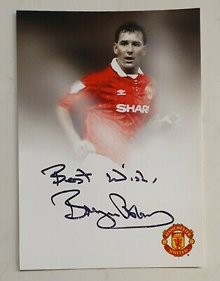 Bryan Robson Signed In Person 4 X 6 Inch Manchester United Promo Card Champion