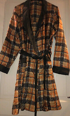 St Michael M&S Retro 70's Silky Checked Dressing Gown Mans Robe Size M VGC