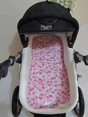 Pram bassinet liner-Frangipani flowers-Fits all pram bassinets