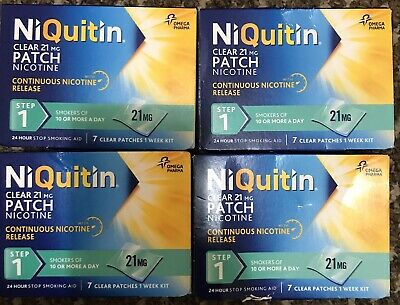 NiQuitin 21mg Clear 24 Hour 4 Pack Of 7 = 28 Patches Stop Smoking Aid Limited 1