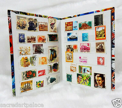 Premier Stamp Album Collection stock Book + 500 PCS Different World Stamps Lot