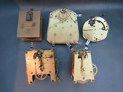 Job lot of 5 vintage mantle clock movements for repair or parts