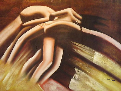 abstract nude lovers sexy huge oil painting contemporary modern brown art
