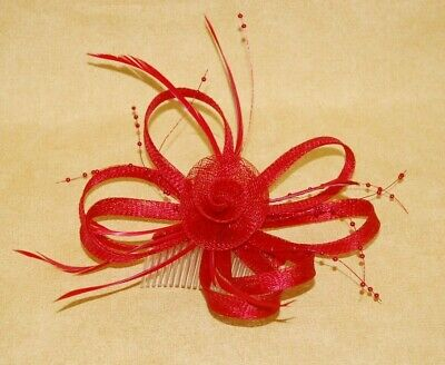 Elegant Red Sinamay, Feathers & Beads Fascinator on Comb.