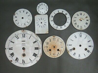 Job lot of enamelled clock dials faces chapter ring to restore for parts spares