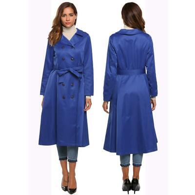 Women Casual Solid Double Breasted Long Trench Coat with Belt Outwear CLSV 02