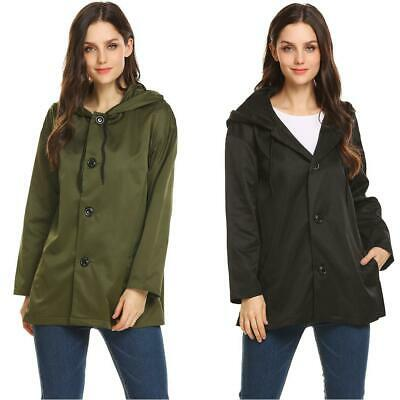 Women Hooded Long Sleeve Button Down Solid Casual Loose Fit Trench Coat KFBY 01