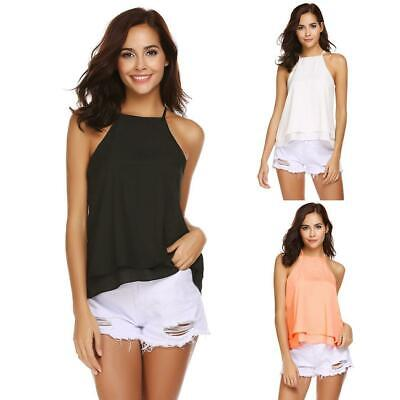 Women Casual Spaghetti Strap Double Layers Solid Sexy Chiffon Tops Vest KFBY
