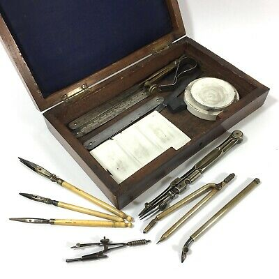 19th Century Rosewood Brass Inlaid Drawing Art Box & Instruments