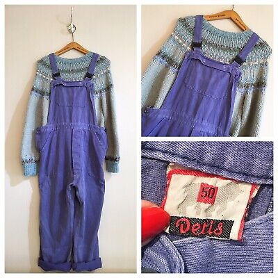 Vintage Blue Cotton Chore Workwear Worker Dungarees Bib And Braces M