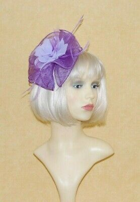 Elegant Lilac Sinamay Frill, Feathers & Flower Fascinator on Head band.