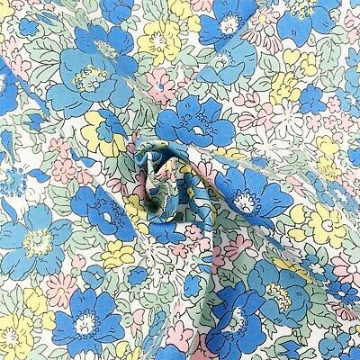 Liberty fabric, Cosmos Bloom floral, blue ditsy quilting cotton, Flower Show