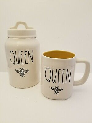 """RAE DUNN QUEEN Bee 8.5"""" Canister and Queen Bee Mug Yellow LL Spring 2020 HTF Set"""
