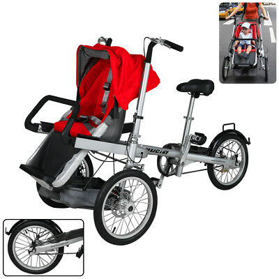 Portable and Foldable Pushchair Baby Trolley and Tricycle Recliner with Red Seat