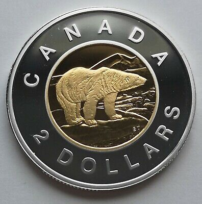 ** Canada  Toonie  1997  ** Proof  Sterling  Silver  With  24Kt  Gold  Plated **