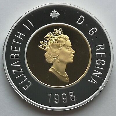 ** Canada  Toonie  1998  ** Proof  Sterling  Silver  With  24Kt  Gold  Plated **