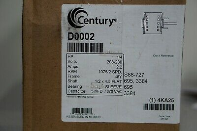 Century 1/4 HP Direct Drive Blower Motor, RPM, 208-230 Voltage D0002 NEW