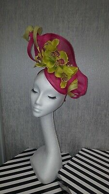 citrus lime green cerise /fuschia pink orchid fascinator Hatinator wedding races